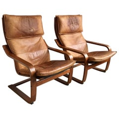 Set of Two Vintage Cognaс Leather Poäng Chairs by Noboru Nakamura for Ikea, 1999