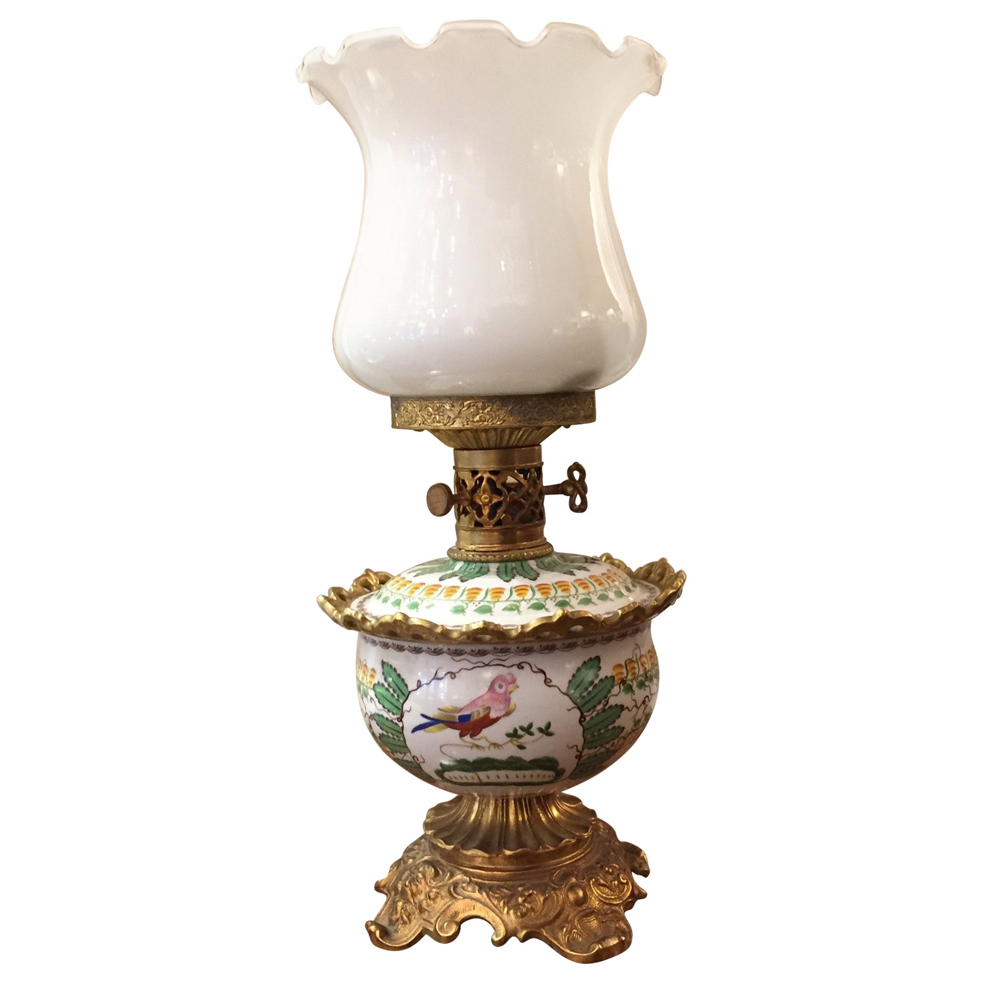 Italian Glass Ormolu Porcelain Table Oil Lamp by Mangani Firenze 1970