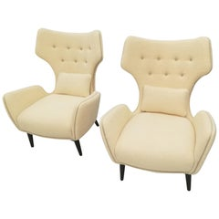 Pair of French Armchairs in Bouclette Fabric