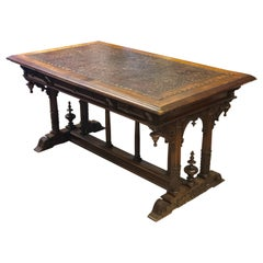 19th Century French Walnut Three-Drawer Hand Carved Desk Table, Henry II Style