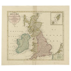 Antique Map of Great Britain and Ireland by Tirion, circa 1750