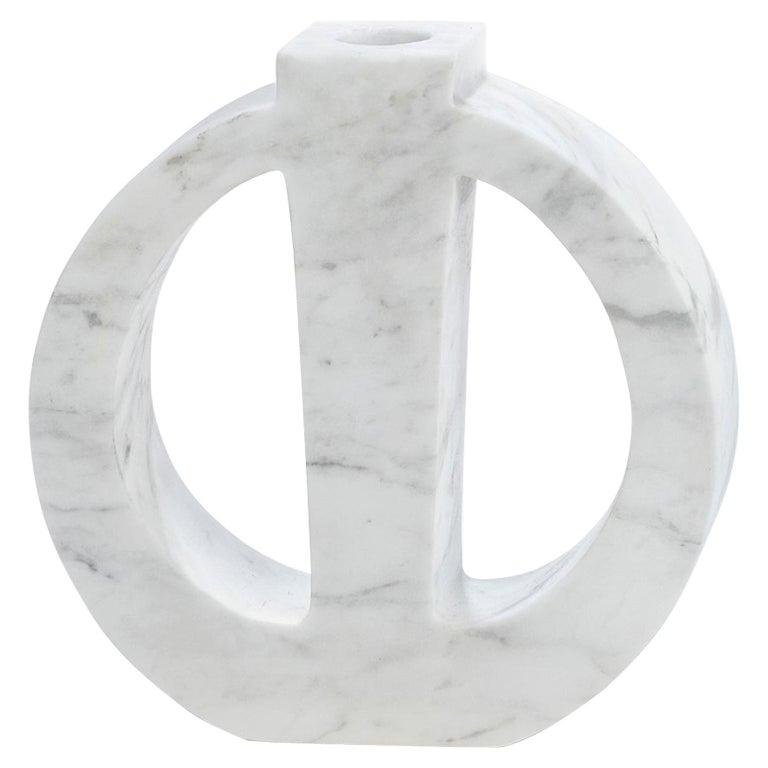 "Contemporary Handcrafted Candle Holder ""Phanes"" in Marble, 1stdibs New York For Sale"