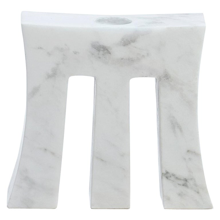 "Contemporary Handcrafted Candle Holder ""Morpheus"" in Marble, 1stdibs New York For Sale"