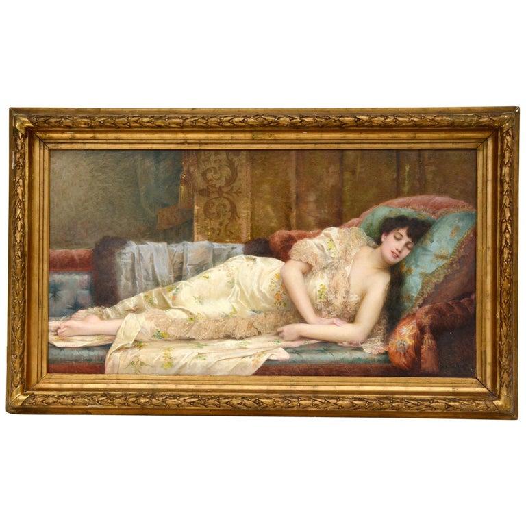 Paul Prosper Tillier, a Sleeping Beauty, 1870s For Sale