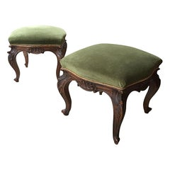 19th Century Pair of Italian Carved Wood Footstools with Velvet Seat, 1890s