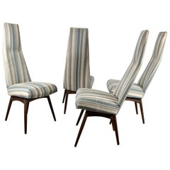 Set of 4 High Back Dining Chairs by Adrian Pearsall for Chromecraft