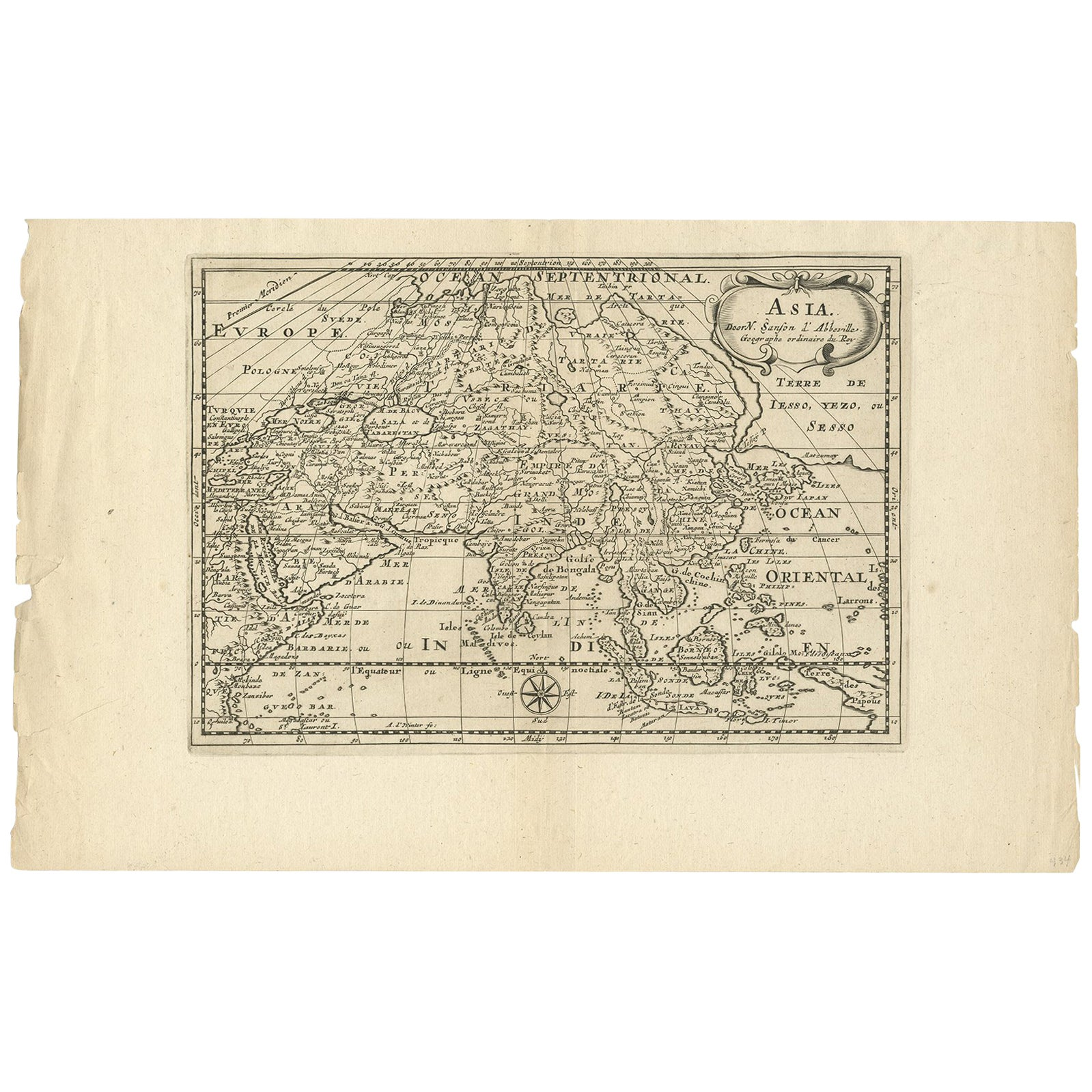 Antique Map of Asia by Sanson, circa 1705