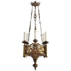 18th Century Gothic Revival Gilt Bronze Church Sanctuary Lamp Candle Chandelier