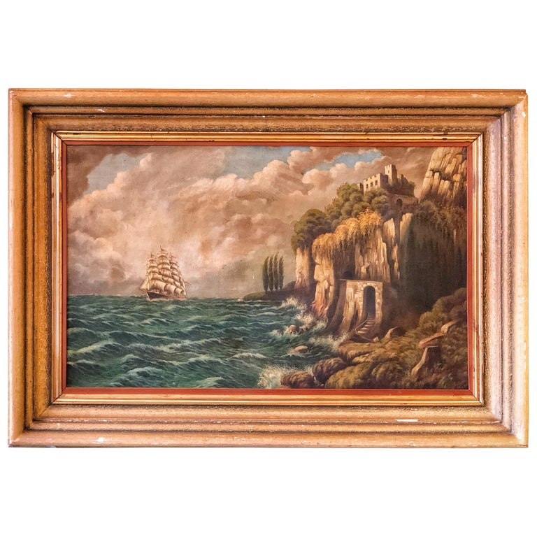 Original E. Pfeiffer Signed European Sea Boat Large Oil on Canvas Painting, 1936 For Sale