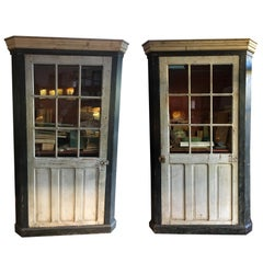 19th Century French Pair of Backlight Lacquered Wooden Cabinets, 1890s