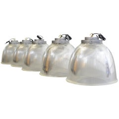 Large Industrial Holophane Pendant Lights, circa 1950s