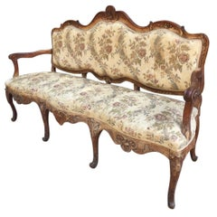 19th Century French Carved Oak Wood Sofa with Upholstered Seat and Back, 1890s