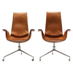 Cognac Leather Swivel 'Bird' Desk Chairs by Preben Fabricius & Jørgen Kastholm