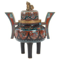 Perfume Burner in Copper Decor Cloisonné Enamels, Topped of a Fo Dog, Japan