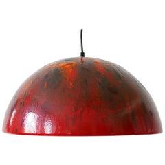 Large and Elegant Mid-Century Modern Enameled Pendant Lamp Dome, 1960s, Denmark