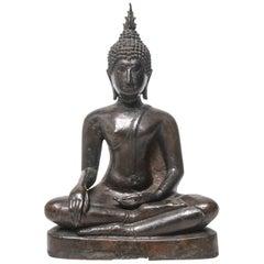 Sukothai Style Thai Bronze Seated Buddha