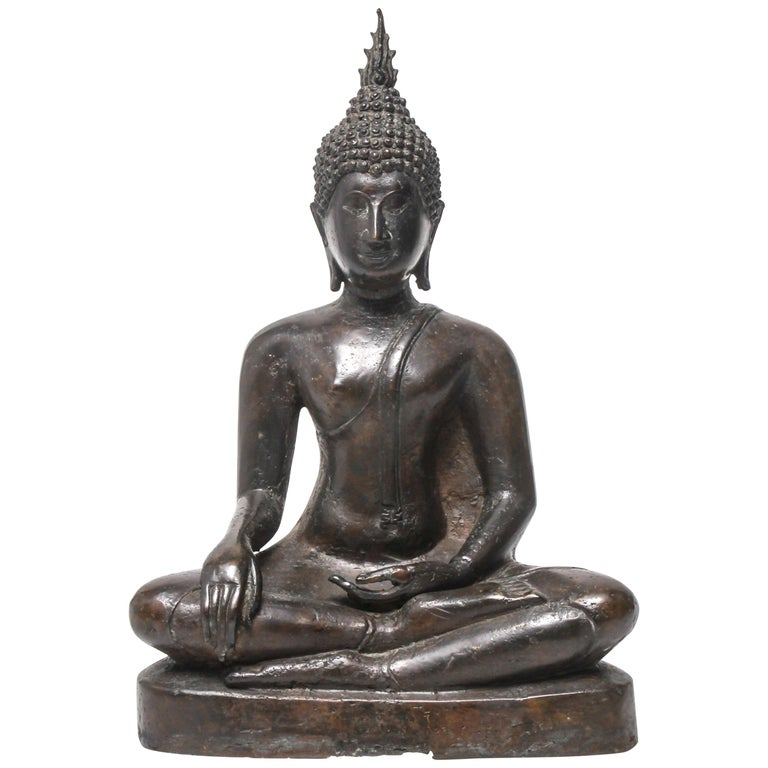 Sukothai Style Thai Bronze Seated Buddha For Sale