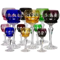 Kristall Mix Set von 12 Gläsern mit Farbigem Overlay, Klar Geschliffen