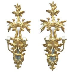 Pair of Italian Giltwood Sconces with Mirrors, circa 1950