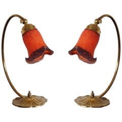 Pair of French Art Deco Table Lamps with Pâte de Verre Glass Shades, 1930s