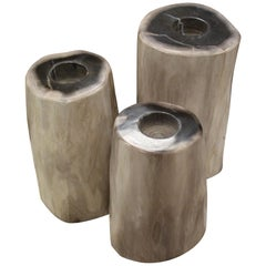 Set of 3 Petrified Wood Candleholders