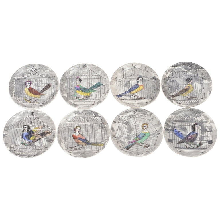 Set of Eight Midcentury 'Le Arpie Gentili' Coasters by Piero Fornasetti For Sale