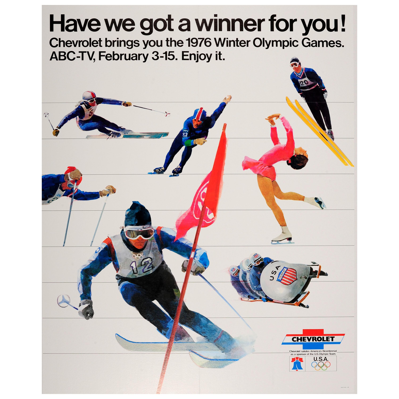 Original Vintage Chevrolet US Team Sport Poster 1976 Winter Olympic Games ABC-TV