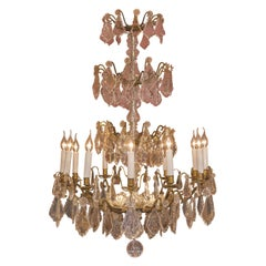 Louis XVI Style French Mid-20th Century, Bronze & Crystal Chandelier, circa 1950