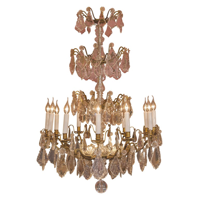 Louis XVI Style French Mid-20th Century, Bronze & Crystal Chandelier, circa 1950 For Sale