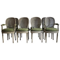 Set of 8, 1930s French Dining Chairs in the Louis XVI Taste