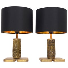 Pair of Midcentury Bronze Table Lamps by Luciano Frigerio, circa 1960