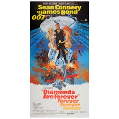 Large Original Vintage Classic 007 James Bond Movie Poster Diamonds Are Forever