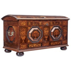 Mid-19th Century Profusely Inlaid Continental Walnut Dome Chest