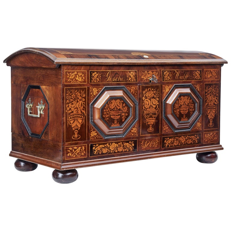 Mid-19th Century Profusely Inlaid Continental Walnut Dome Chest 1