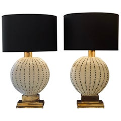 Late 20th Century Pair of White with Black Dots Murano Glass & Brass Table Lamps