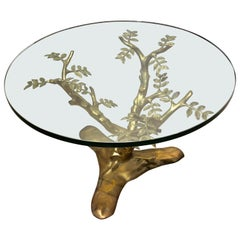 Fine Hollywood Regency Baguès Leafy Tree Style Coffee Table with Thick Glass Top