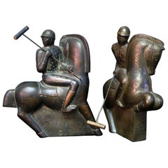 Pair of Polo Players, Rare and Striking Art Deco Sculptures by Gregory
