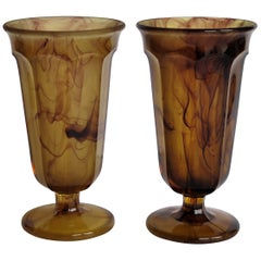 Pair of  Art Deco George Davidson Vases or Parfait Glasses in Amber Cloud Glass