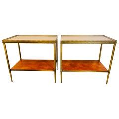 Leather Top Baguès Style End Tables by John Boone with Tortoise Shell Form Top