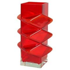 Pablo Vase by Erkkitapio Siiroinen by Riihimaki, Red Glass Finland