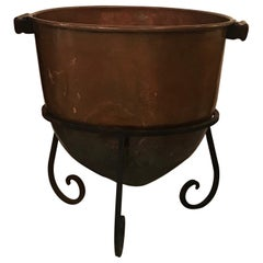 Log Holder or Jardinière Planter Originally a Candy Cauldron