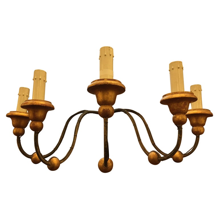 Large Italian Iron Five-Armed Sconce with GiltWood Bobeches For Sale