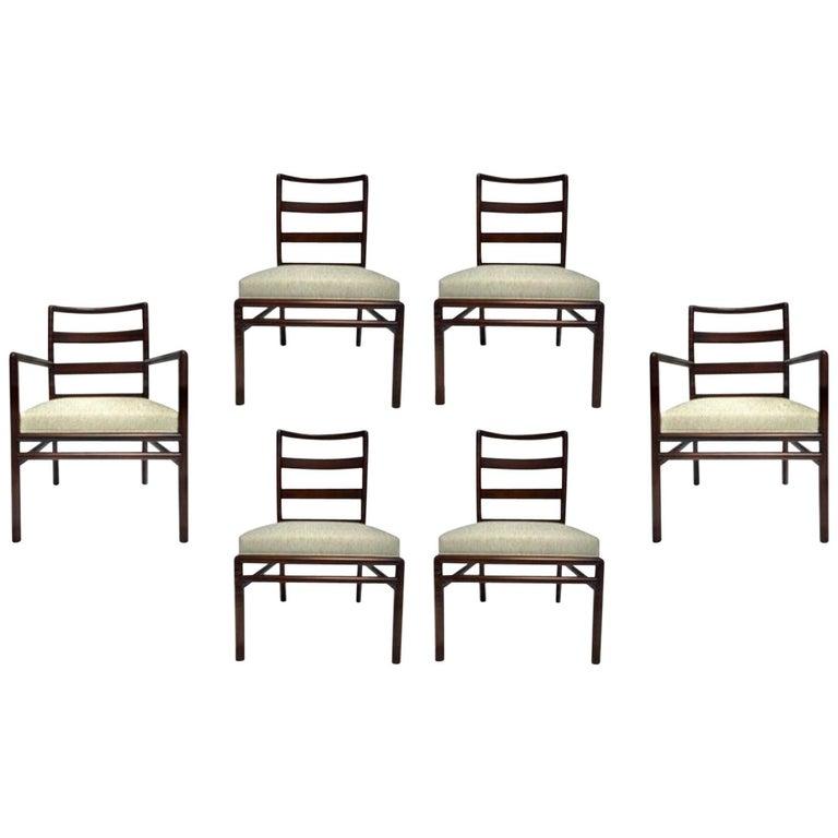 T.H. Robsjohn-Gibbings Set of Six Ladder Back Dining Chairs For Sale
