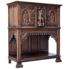 Late 19th Century Carved Oak Gothic Revival Buffet