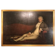 Monumental 19th Century Oil on Canvas of a Reclining Gentleman in His Study