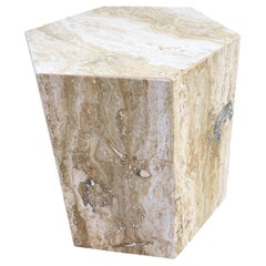 Travertine Hexagon Side Table