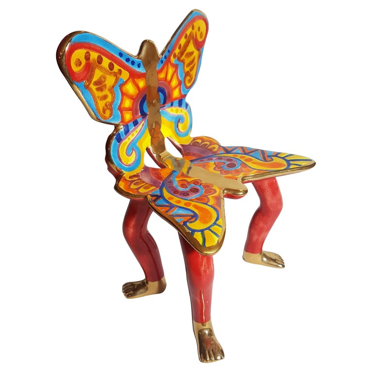 Pedro Friedeberg Ceramic Butterfly Chair Sculpture For Sale