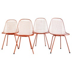 Set of Four Wire Chair DKX 5 by Ray & Charles Eames Designed in 1951