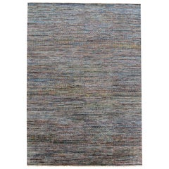 21st Century Striped Sari Silk Rug