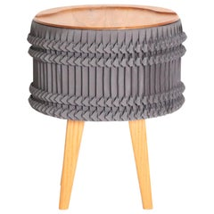 Pleated Stool or Side Table, Oak Wood, Gray Pleated Fabric